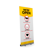 We are open roller banner safety rules