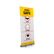 stay safe roller banner social distance rules