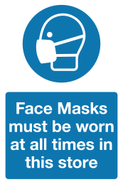 face masks must be worn at all times sign