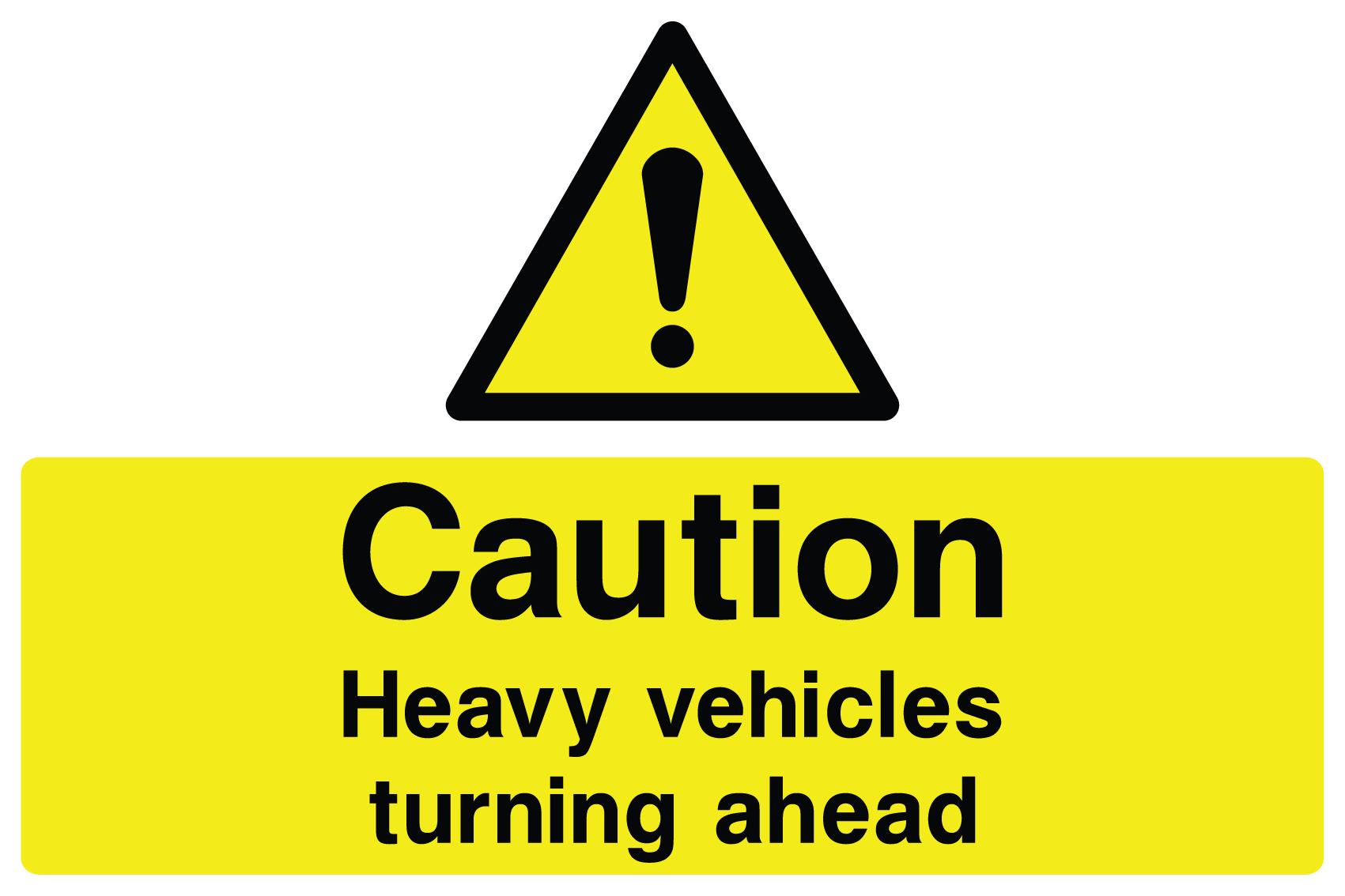 Caution Heavy Vehicles Turning Sign