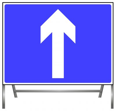 One-way traffic (note- compare circular 'Ahead only' sign) Road sign
