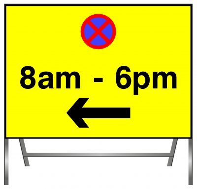 No Stopping Time Sign with arrow