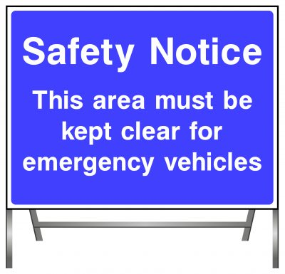 Safety Notice - emergency vehicles sign