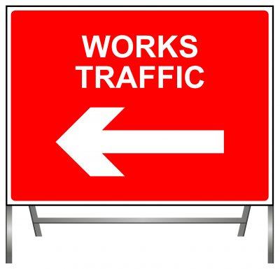 Works Traffic Left Sign
