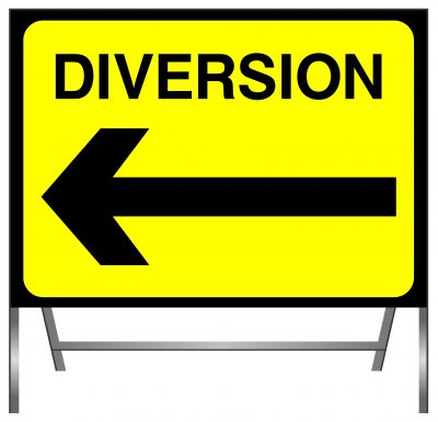 Diversion left arrow sign