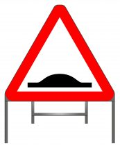 Distance over which road humps extend warning sign