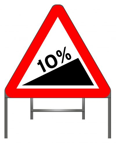 Steep hill upwards warning sign