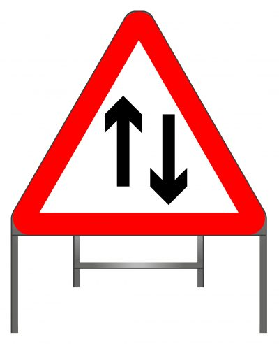 Two-way traffic straight ahead warning sign