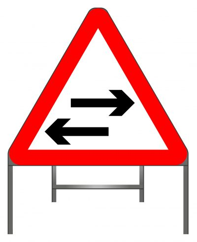 Two-way traffic crosses one-way road warning sign
