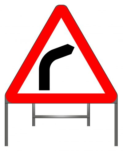 Bend to right (or left if symbol reversed) warning sign