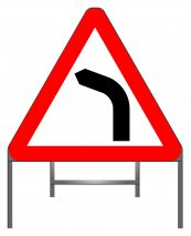 Bend to left (or right if symbol reversed) warning sign