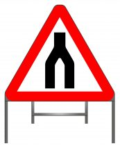 Dual carriageway ends warning sign