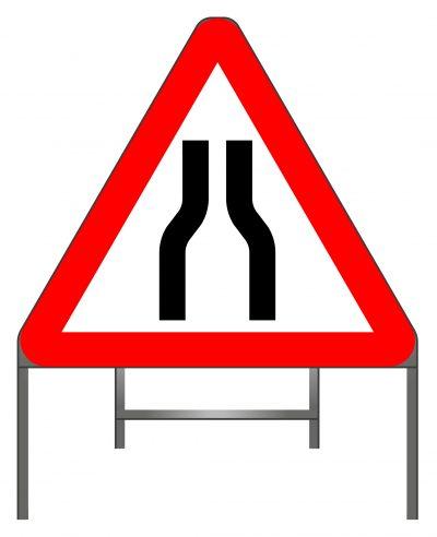 Road narrows on both sides warning sign