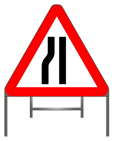 Road narrows on left (right if symbol reversed) warning sign