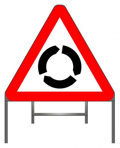 Road narrows on right (left if symbol reversed) warning sign