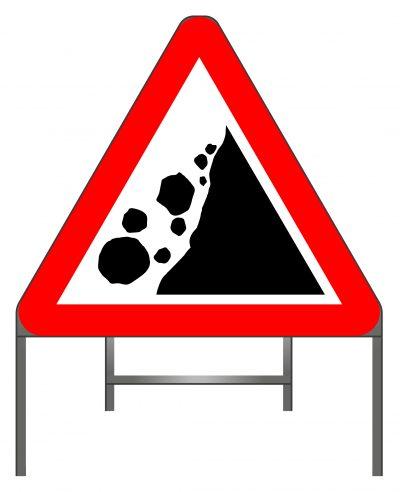 Falling or fallen rocks warning sign