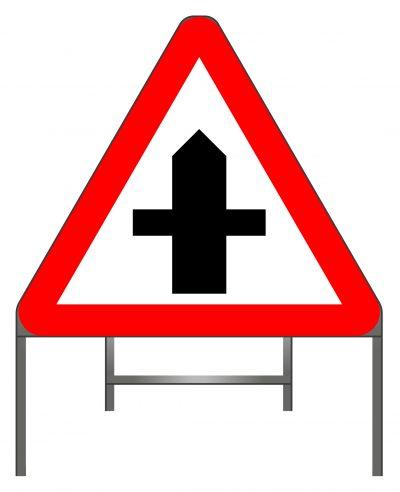 Crossroads warning sign