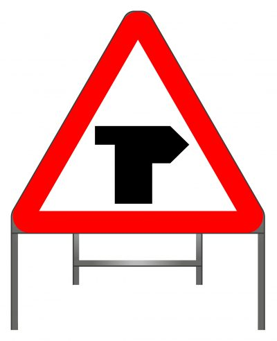 T-junction with priority over vehicles from the left warning sign