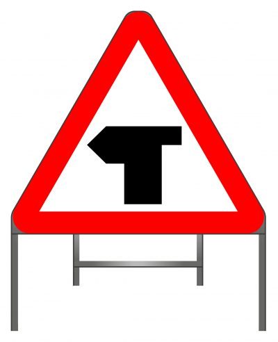 T-junction with priority over vehicles from the right warning sign