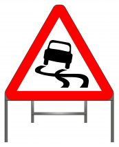 Slippery road warning sign