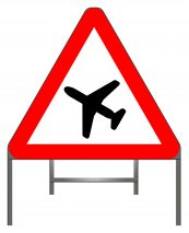Low-flying aircraft or sudden aircraft noise warning sign