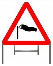 Side winds warning sign
