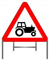 Tractors on Road Warning Sign