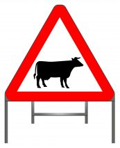 Cattle warning sign
