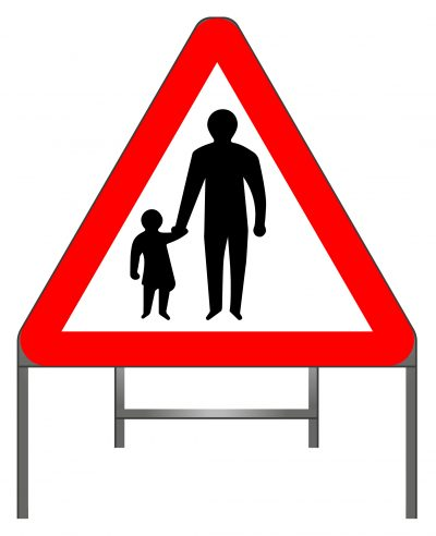 Pedestrians in road ahead warning sign