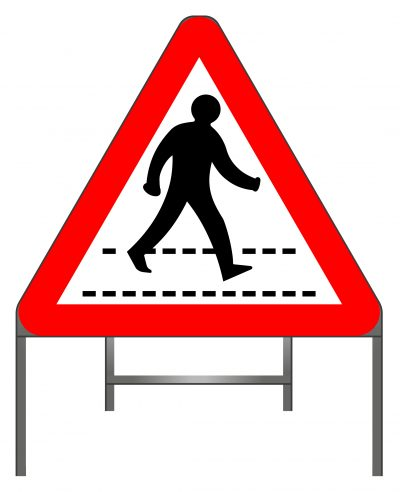 Zebra crossing warning sign